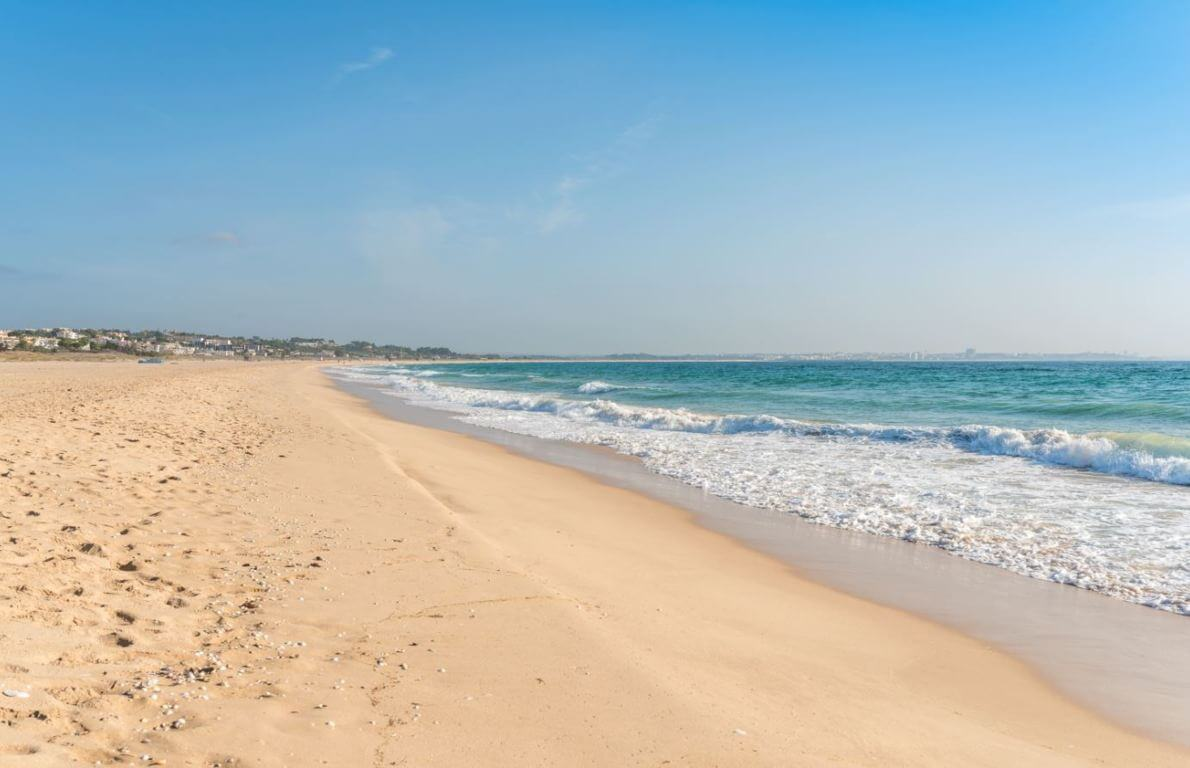 The sand on the beach is nice and very soft. It feels great to walk on this beach barefoot. Meia Praia is a very clean beach.