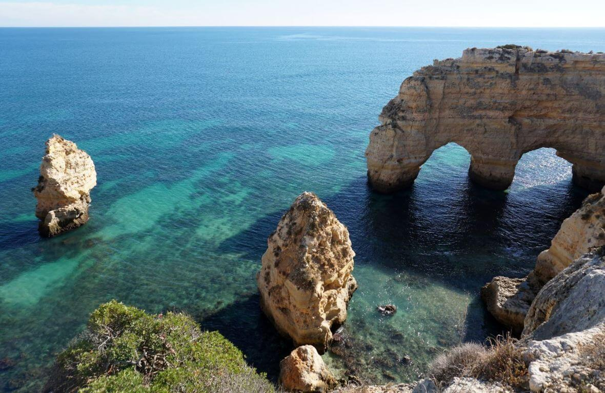 M rock near Marinha beach