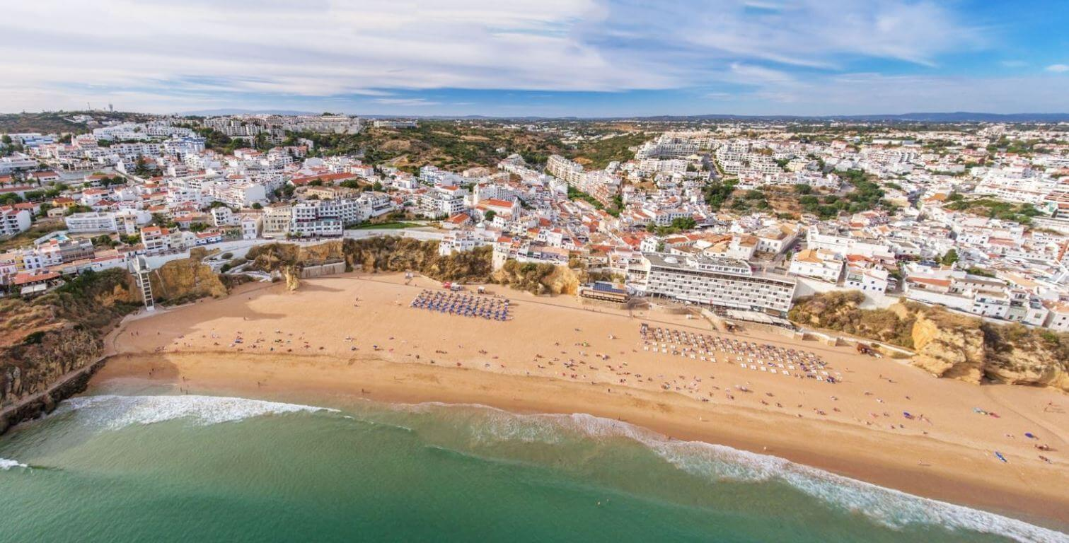 Albufeira beaches in front of the old town