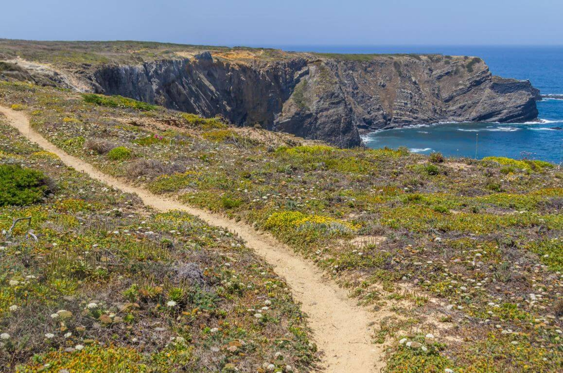 Walking trail on the cliffs near Praia da Arrifana