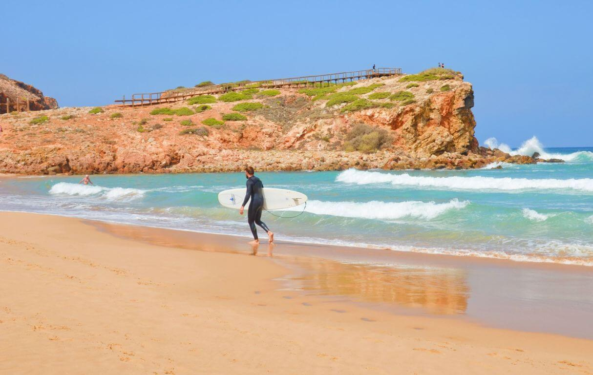 Surfing on Praia da Bordeira