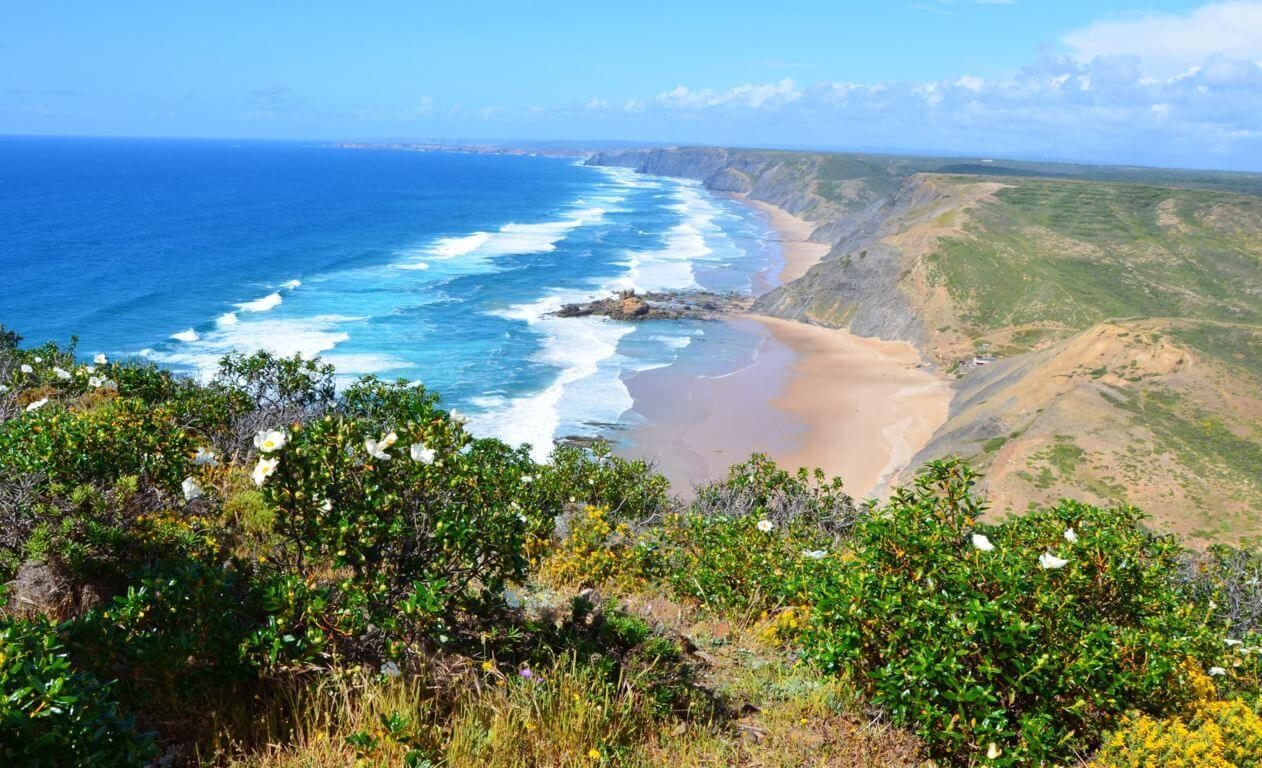 View over Praia do Amado from the cliffs