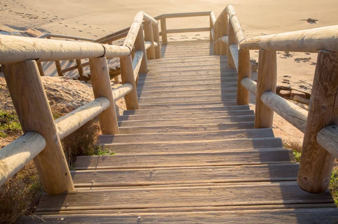 Wooden stairway to Praia do Amado
