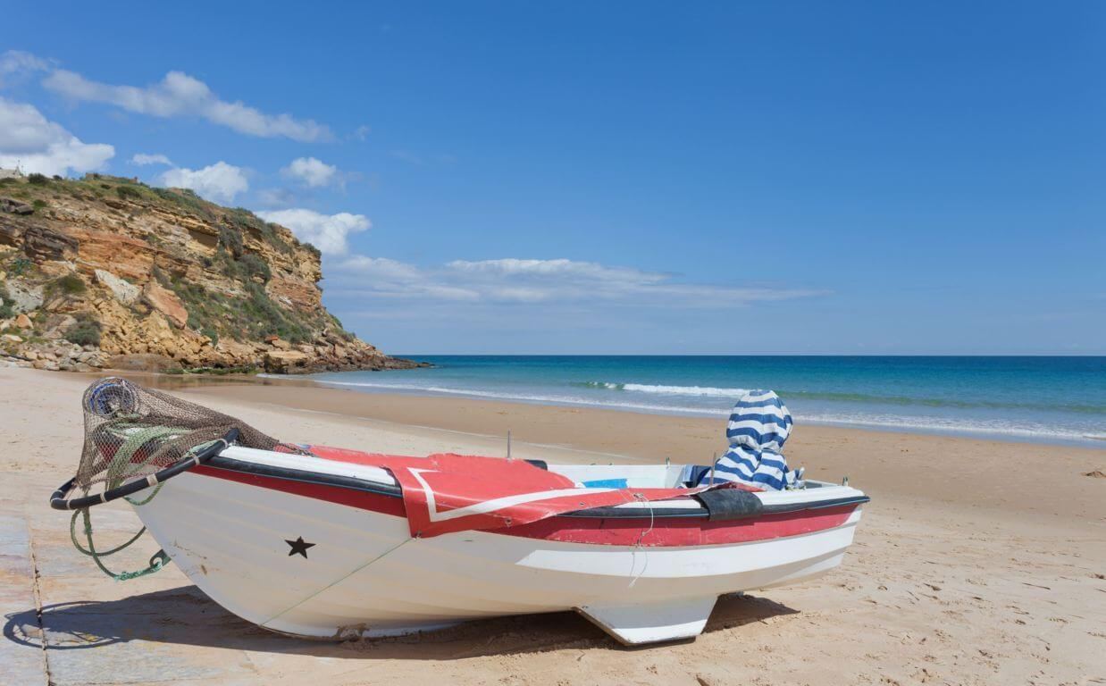 Fishing boat on Burgau beach