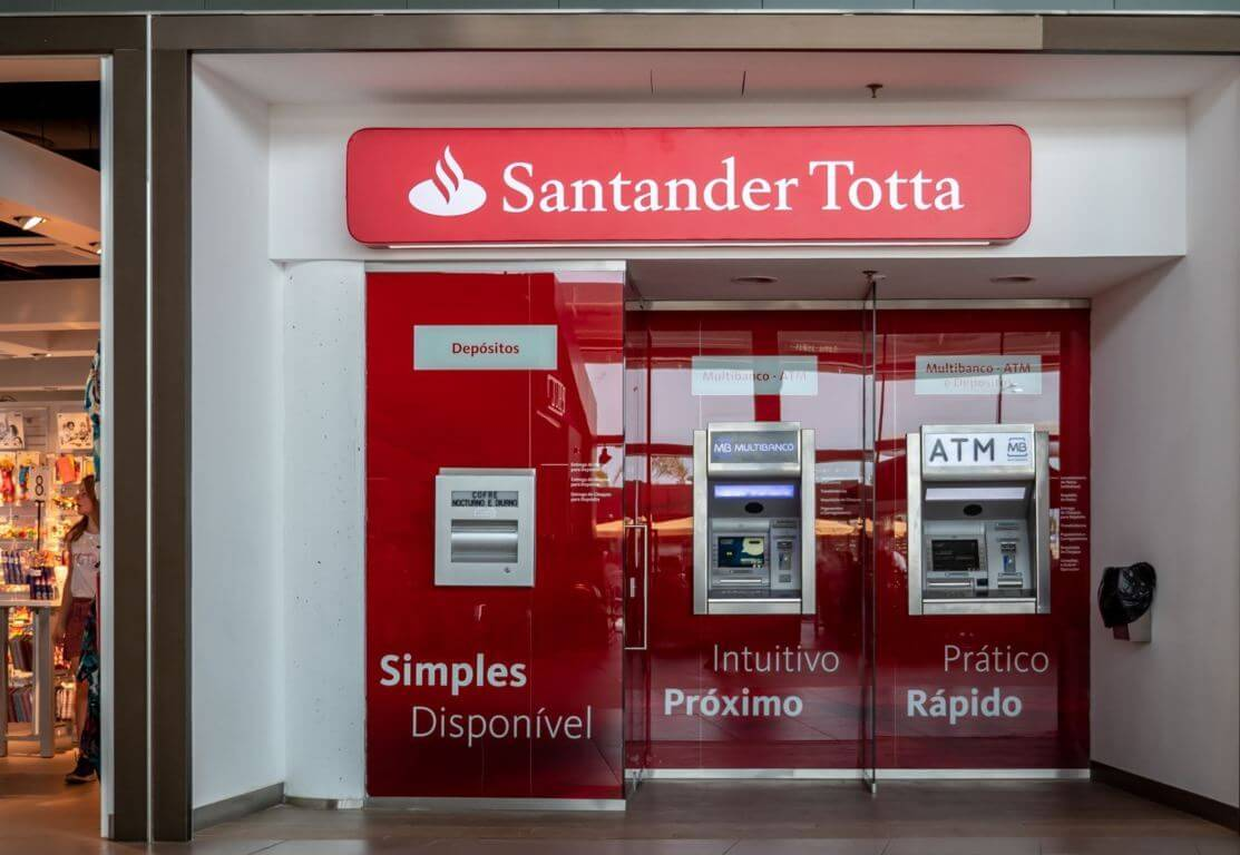 Santander ATM at the airport of Faro