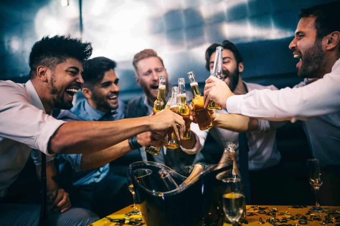 Group of friends drinking
