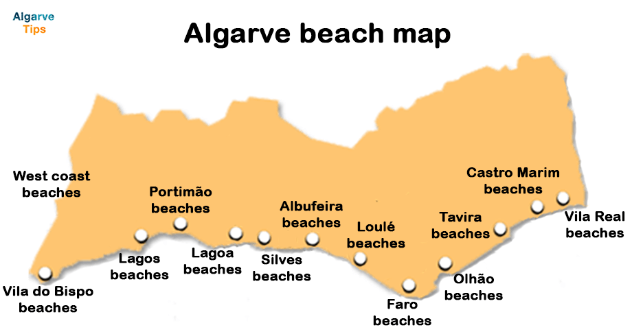Algarve beach map