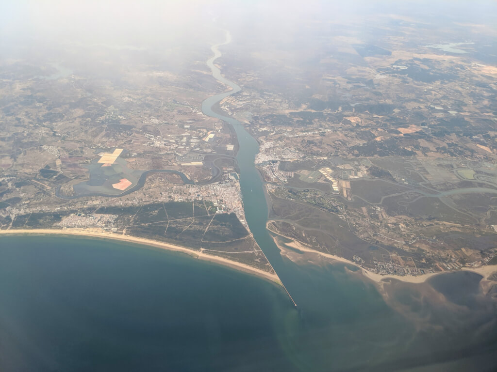 Praia de Santo António from the air