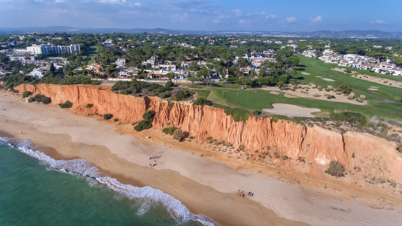Vale do Lobo rock formations viewed from a drone