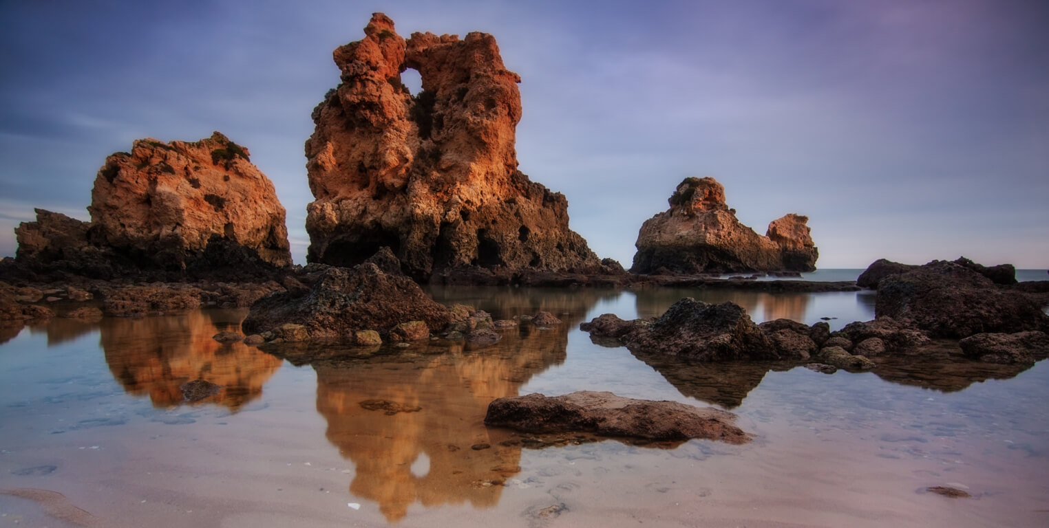 The rock formations at Praia dos Arrifes