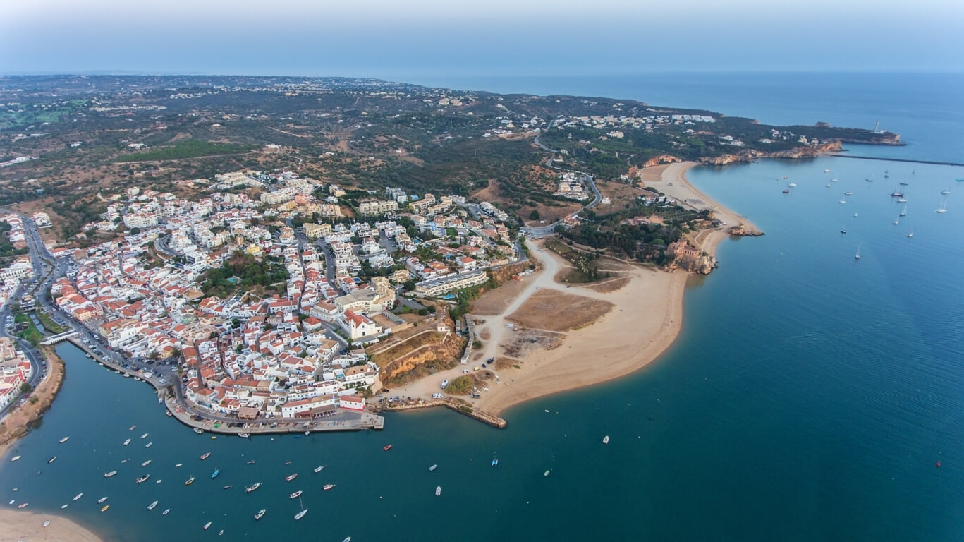 Ferragudo and Praia da Angrinha (in front) and Praia Grande (in the back)