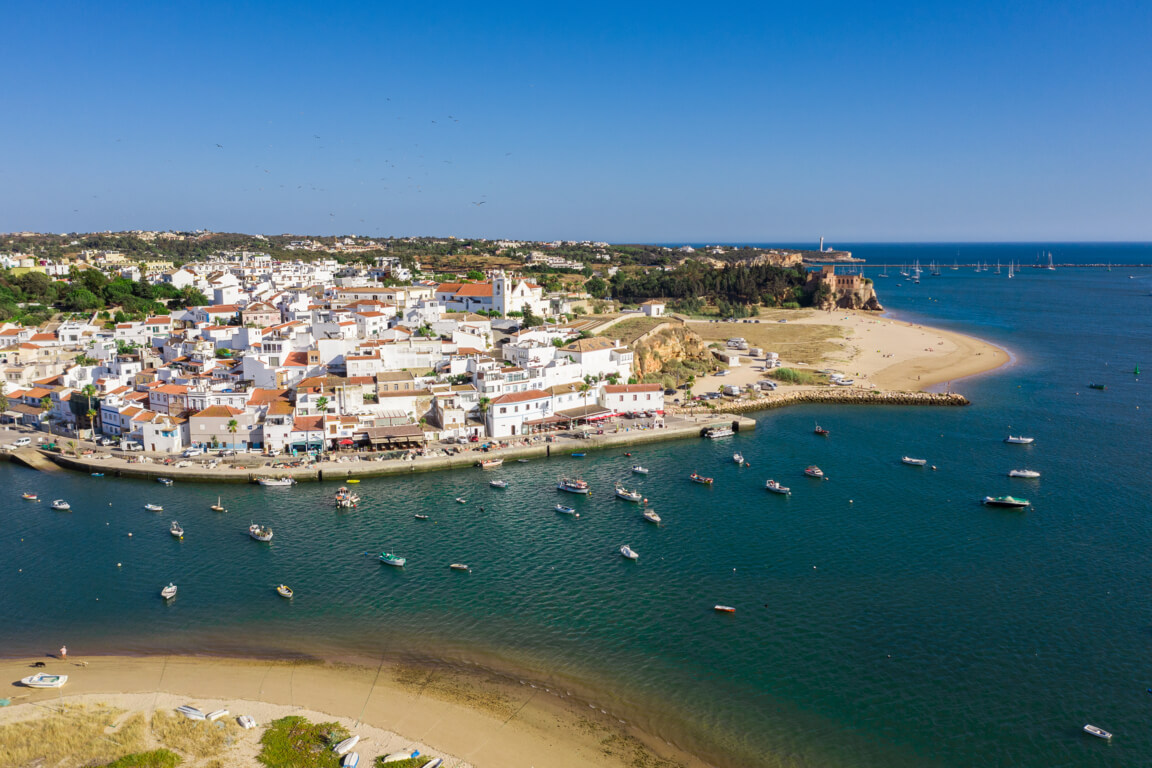 Ferragudo and Praia da Angrinha on the right side