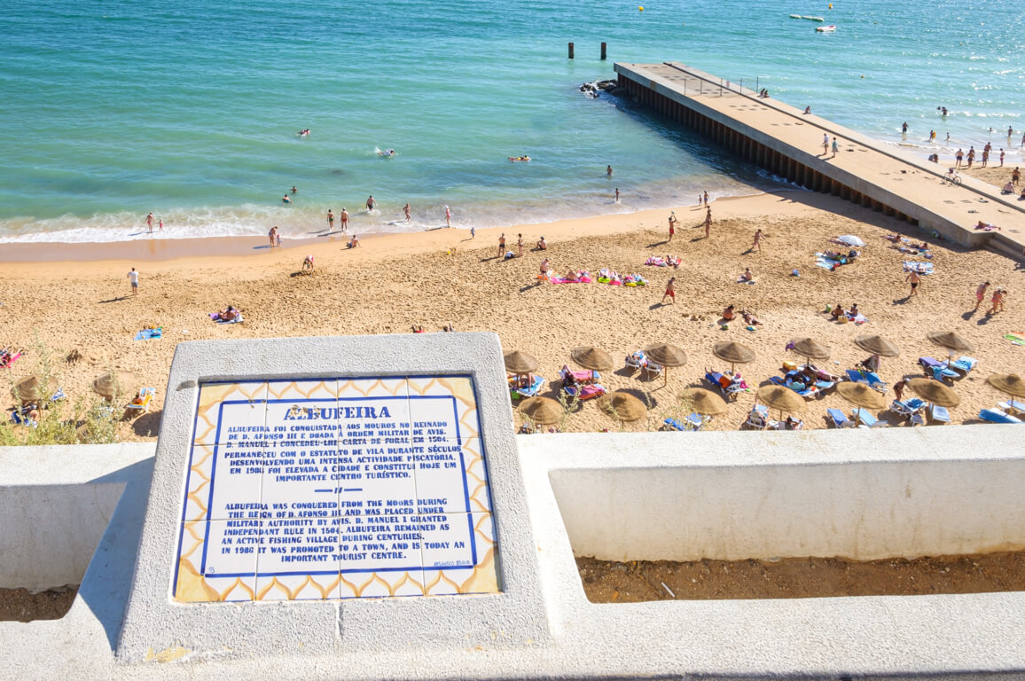 History of Albufeira on a tile near Praia do Inatel