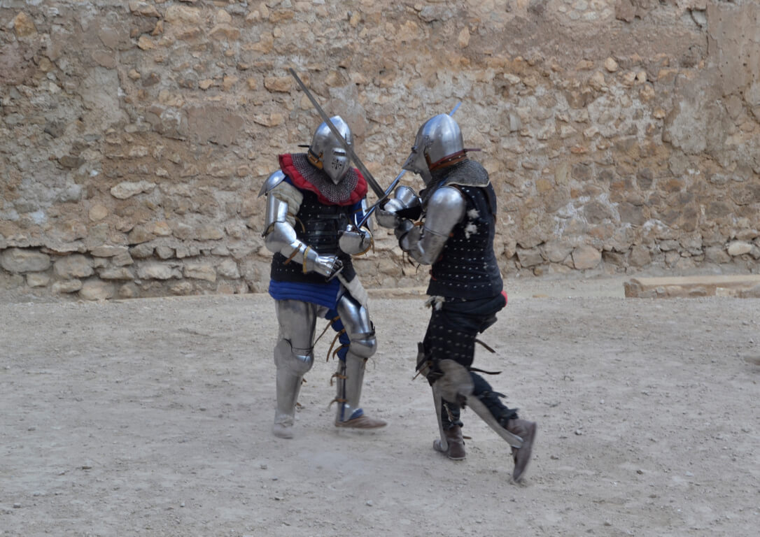 Medieval soldiers re-enacting a battle