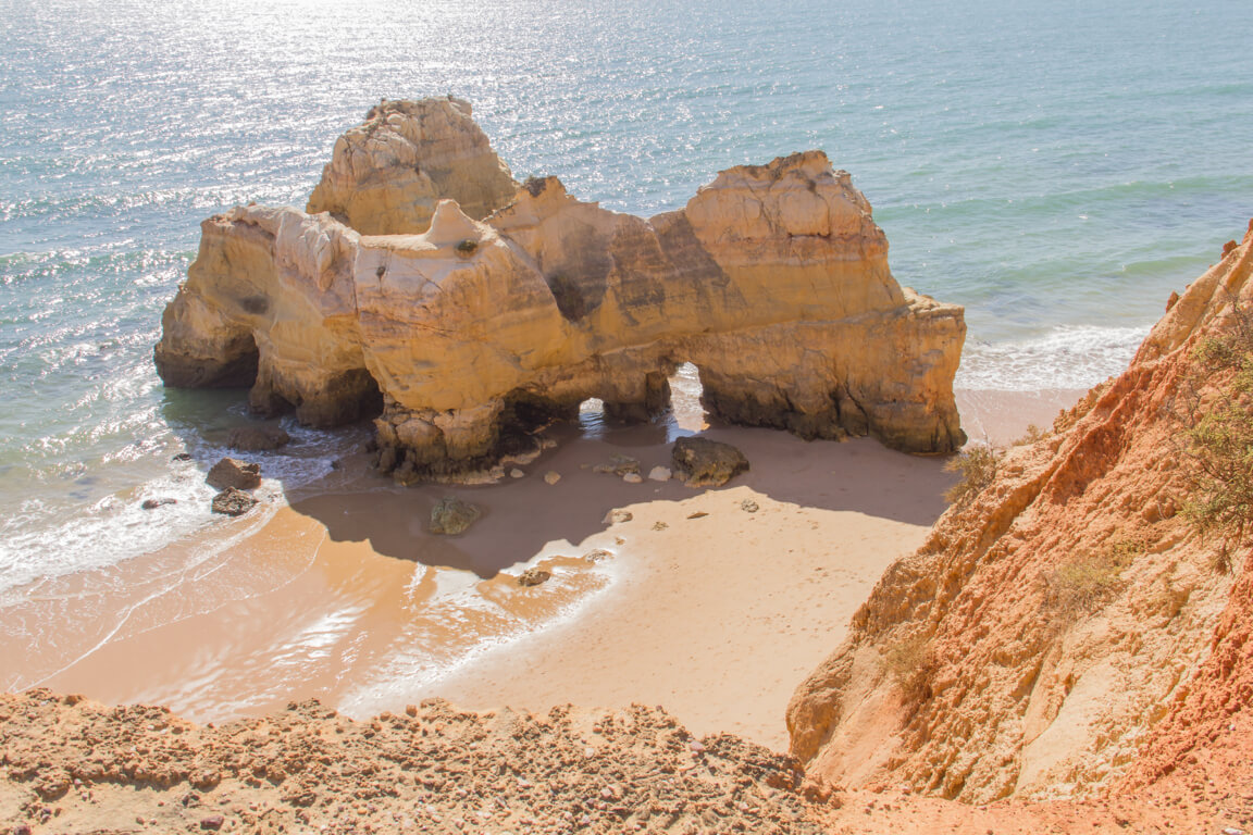 Separate rock formation on Praia dos Careanos