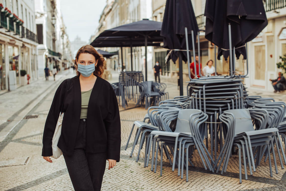 Woman wearing face mask on Portuguese street